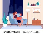mother reading book. mom read... | Shutterstock .eps vector #1680143608