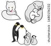 white animals in cartoon style... | Shutterstock .eps vector #1680156232
