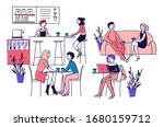 people sitting in cafe ... | Shutterstock .eps vector #1680159712