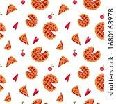 cute red cherry pie digital art ... | Shutterstock . vector #1680163978