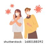 people in face masks fight with ... | Shutterstock .eps vector #1680188392