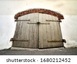 Vintage wooden door on the...