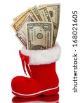 Red Christmas Boot With Dollar...