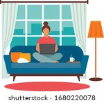 young woman working on a laptop ... | Shutterstock .eps vector #1680220078
