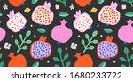 fr vg patternspomegranate fruit ... | Shutterstock .eps vector #1680233722