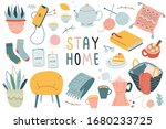 stay home collection  indoors...   Shutterstock .eps vector #1680233725
