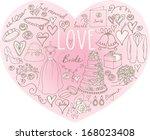 wedding icons arranged in heart ... | Shutterstock .eps vector #168023408