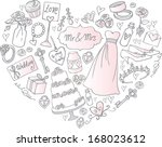 wedding icons arranged in heart ... | Shutterstock .eps vector #168023612