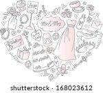 wedding icons arranged in heart ... | Shutterstock .eps vector #168023612
