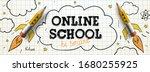 online school. digital internet ... | Shutterstock .eps vector #1680255925