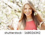 beautiful spring girl in... | Shutterstock . vector #168026342