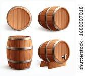 wooden barrels realistic set...   Shutterstock .eps vector #1680307018