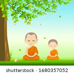 thai monks and thai novice ... | Shutterstock .eps vector #1680357052