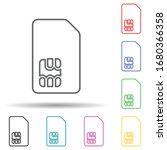 sim card multi color set icon....
