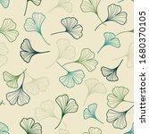 outlined ginkgo leaves seamless ... | Shutterstock .eps vector #1680370105