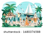 people walking on seaside... | Shutterstock .eps vector #1680376588