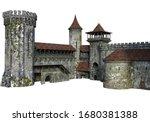 3d Rendered Medieval Castle On...