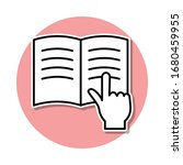 finger on a book sticker icon....