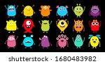 monster icon big set. happy... | Shutterstock .eps vector #1680483982