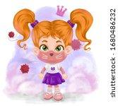 a cute little girl in a mask on ... | Shutterstock . vector #1680486232