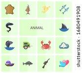 14 animal flat icons set... | Shutterstock .eps vector #1680491908