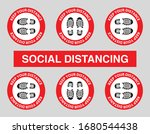 vector of footprint sign red... | Shutterstock .eps vector #1680544438
