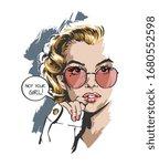 blonde girl in sunglasses... | Shutterstock .eps vector #1680552598