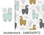 Cute Cartoon Lama Card And...