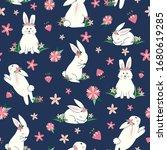 cute bunnies seamless pattern....   Shutterstock .eps vector #1680619285