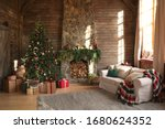 Festive interior with decorated ...