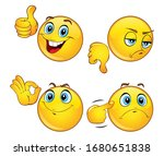 set of beautiful emoticons with ... | Shutterstock .eps vector #1680651838