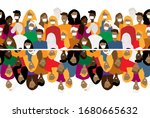 poster with cartoon people.... | Shutterstock .eps vector #1680665632