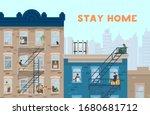 stay home motivational banner.... | Shutterstock .eps vector #1680681712
