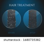 damaged and healthy hair under... | Shutterstock .eps vector #1680735382