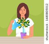cute woman watering money tree...   Shutterstock .eps vector #1680805012