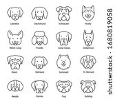 Dog Breed  Icon Set. Heads With ...