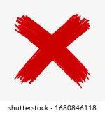 red grunge x mark icon | Shutterstock .eps vector #1680846118