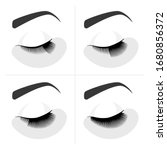 eyelash extension procedure....   Shutterstock .eps vector #1680856372