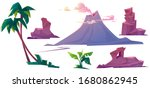 volcano with smoke  rocks and... | Shutterstock .eps vector #1680862945