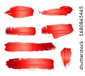 Brush Stroke Of Red Paint Or...