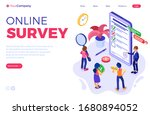 online survey with isometric...   Shutterstock .eps vector #1680894052
