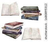 Watercolor Vintage Books Set....