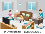 work from home  learn from home ... | Shutterstock .eps vector #1680902212