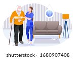home care services for seniors. ... | Shutterstock .eps vector #1680907408