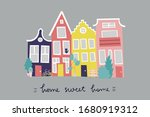 Cozy Houses Postcard Template....