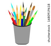 colorful pencils in pencil case.... | Shutterstock .eps vector #1680919618