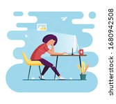 freelance from home. working... | Shutterstock .eps vector #1680942508