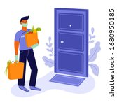 young man  courier or volunteer ... | Shutterstock .eps vector #1680950185