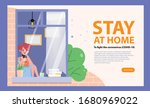 woman stay at home avoid... | Shutterstock .eps vector #1680969022