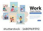 employees are working from home ... | Shutterstock .eps vector #1680969592